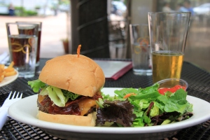 Pale Ale BBQ Bacon Burger with Green Salad