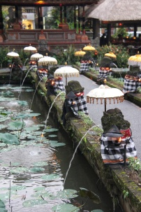 Decorative fountains, Hindu Procession, Ubud, Bali