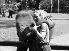 Melanie and baby Elephant, Elephant Safari Park, Bali, Indonesia